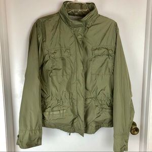 Gap Jacket XL Olive Green Nylon Shell Hood Pockets